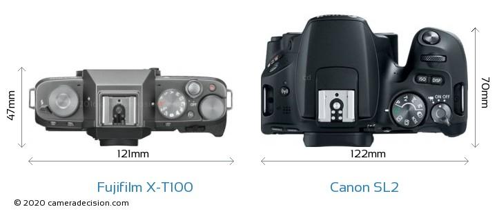 Fujifilm X-T100 vs Canon SL2 Camera Size Comparison - Top View