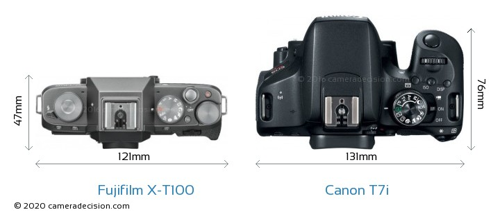Fujifilm X-T100 vs Canon T7i Camera Size Comparison - Top View