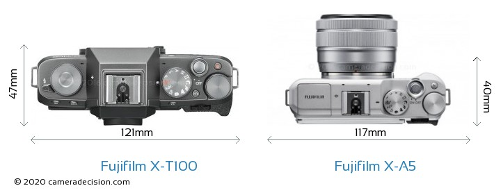 Fujifilm X-T100 vs Fujifilm X-A5 Camera Size Comparison - Top View