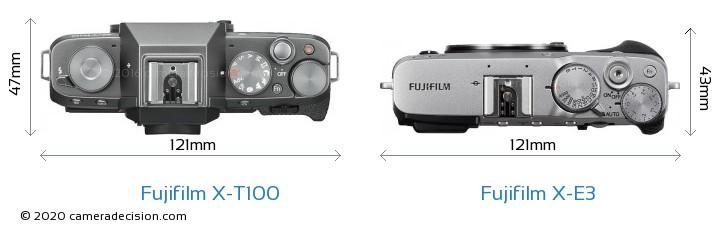 Fujifilm X-T100 vs Fujifilm X-E3 Camera Size Comparison - Top View