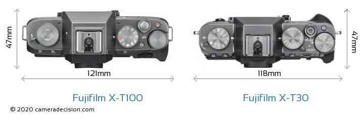 Fujifilm X-T100 vs Fujifilm X-T30 Camera Size Comparison - Top View