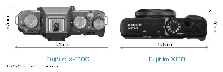 Fujifilm X-T100 vs Fujifilm XF10 Camera Size Comparison - Top View