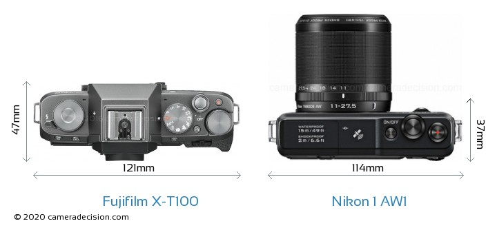 Fujifilm X-T100 vs Nikon 1 AW1 Camera Size Comparison - Top View