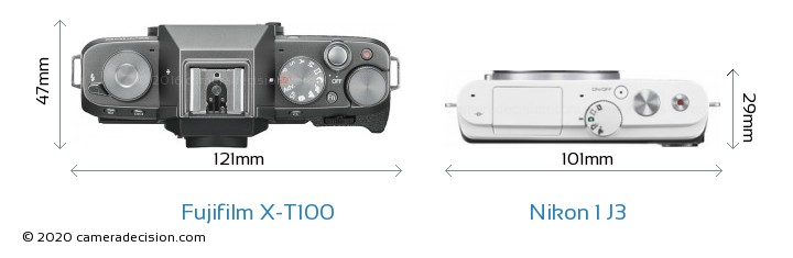 Fujifilm X-T100 vs Nikon 1 J3 Camera Size Comparison - Top View