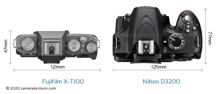 Fujifilm X-T100 vs Nikon D3200 Camera Size Comparison - Top View