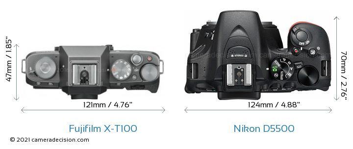 Fujifilm X-T100 vs Nikon D5500 Camera Size Comparison - Top View