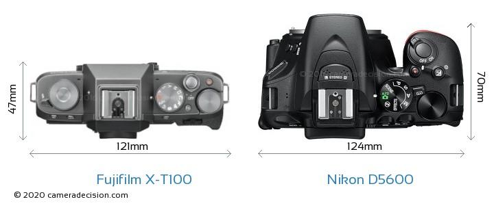 Fujifilm X-T100 vs Nikon D5600 Camera Size Comparison - Top View