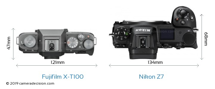 Fujifilm X-T100 vs Nikon Z 7 Camera Size Comparison - Top View