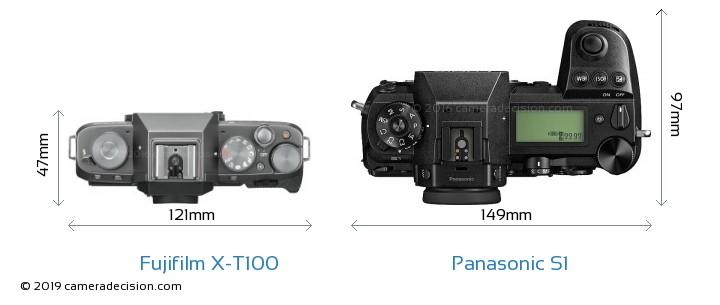 Fujifilm X-T100 vs Panasonic S1 Camera Size Comparison - Top View