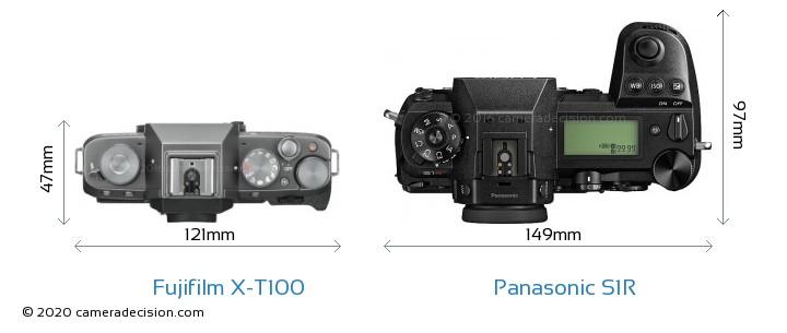 Fujifilm X-T100 vs Panasonic S1R Camera Size Comparison - Top View