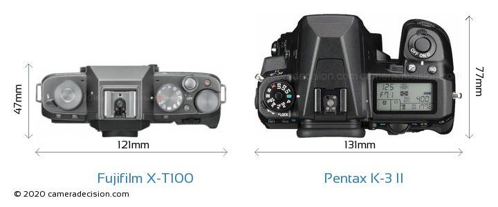 Fujifilm X-T100 vs Pentax K-3 II Camera Size Comparison - Top View