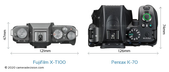 Fujifilm X-T100 vs Pentax K-70 Camera Size Comparison - Top View