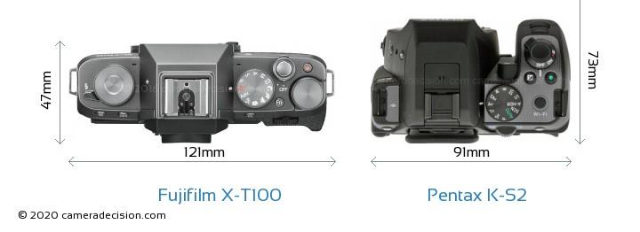 Fujifilm X-T100 vs Pentax K-S2 Camera Size Comparison - Top View
