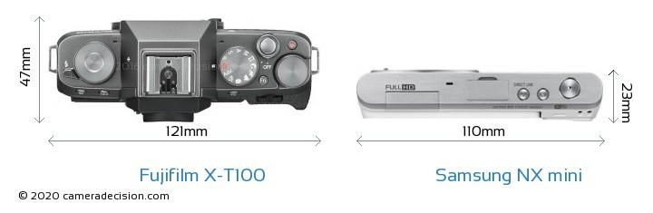 Fujifilm X-T100 vs Samsung NX mini Camera Size Comparison - Top View