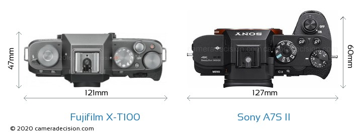 Fujifilm X-T100 vs Sony A7S II Camera Size Comparison - Top View