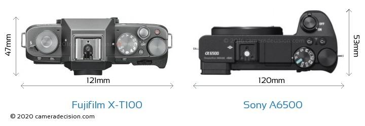 Fujifilm X-T100 vs Sony A6500 Camera Size Comparison - Top View