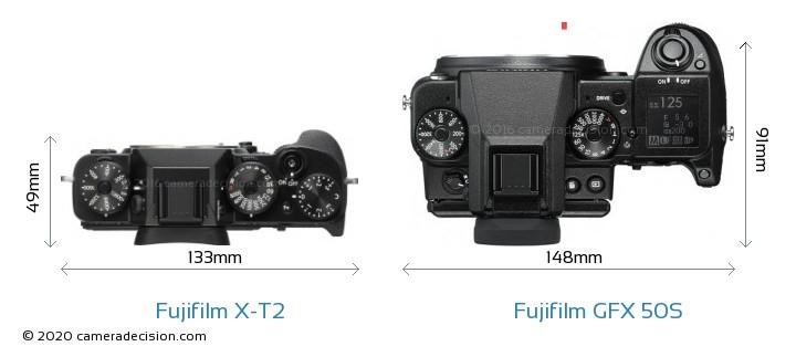 Fujifilm X-T2 vs Fujifilm GFX 50S Camera Size Comparison - Top View
