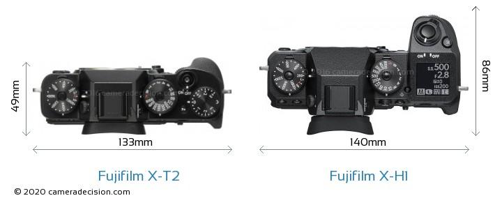 Fujifilm X-T2 vs Fujifilm X-H1 Camera Size Comparison - Top View