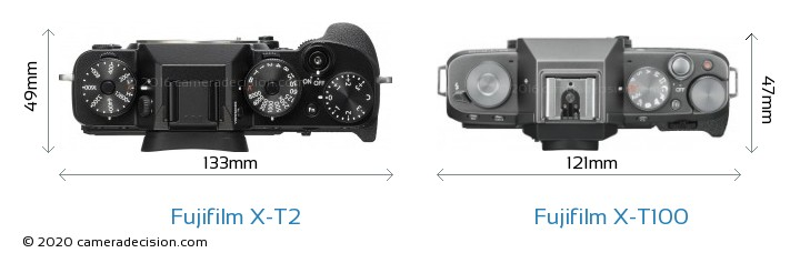 Fujifilm X-T2 vs Fujifilm X-T100 Camera Size Comparison - Top View