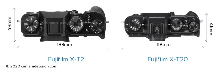 Fujifilm X-T2 vs Fujifilm X-T20 Camera Size Comparison - Top View