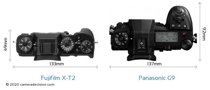 Fujifilm X-T2 vs Panasonic G9 Camera Size Comparison - Top View