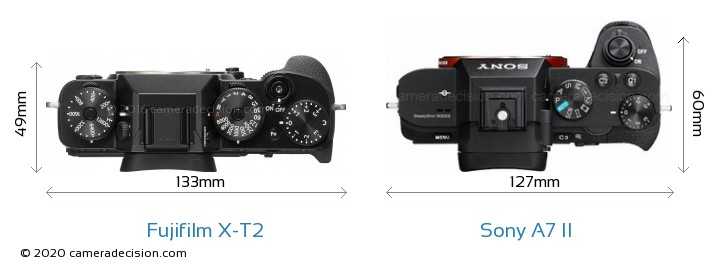 Fujifilm X-T2 vs Sony A7 II Camera Size Comparison - Top View
