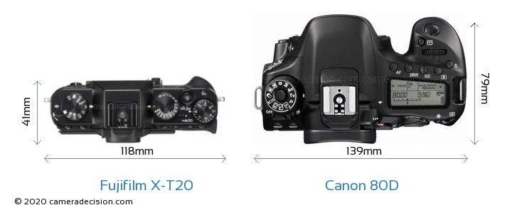 Fujifilm X-T20 vs Canon 80D Camera Size Comparison - Top View
