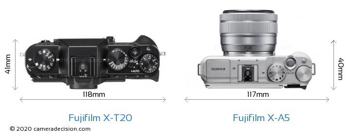 Fujifilm X-T20 vs Fujifilm X-A5 Camera Size Comparison - Top View