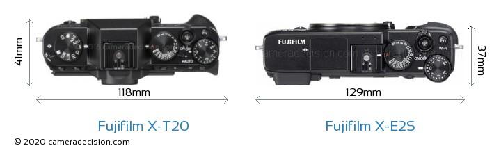 Fujifilm X-T20 vs Fujifilm X-E2S Camera Size Comparison - Top View
