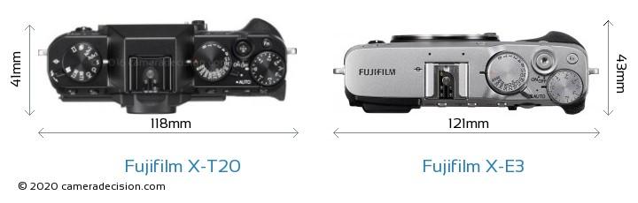 Fujifilm X-T20 vs Fujifilm X-E3 Camera Size Comparison - Top View