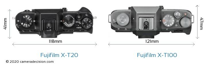 Fujifilm X-T20 vs Fujifilm X-T100 Camera Size Comparison - Top View