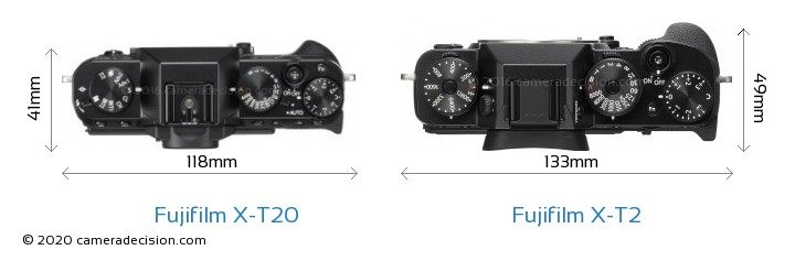 Fujifilm X-T20 vs Fujifilm X-T2 Camera Size Comparison - Top View