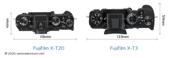 Fujifilm X-T20 vs Fujifilm X-T3 Camera Size Comparison - Top View