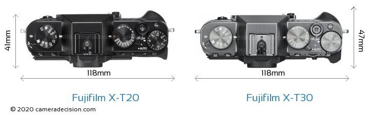 Fujifilm X-T20 vs Fujifilm X-T30 Camera Size Comparison - Top View