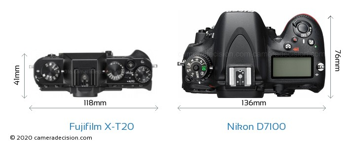Fujifilm X-T20 vs Nikon D7100 Camera Size Comparison - Top View