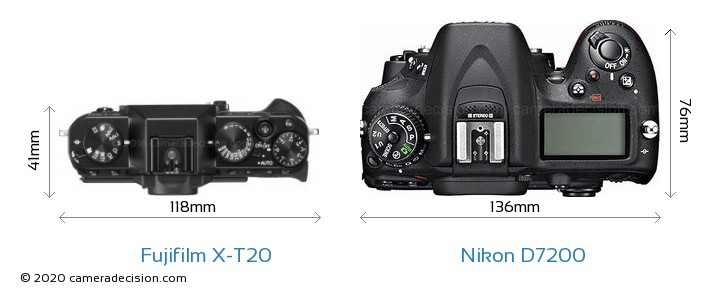 Fujifilm X-T20 vs Nikon D7200 Camera Size Comparison - Top View