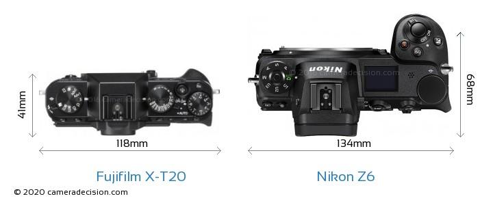 Fujifilm X-T20 vs Nikon Z6 Camera Size Comparison - Top View