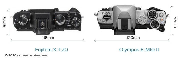 Fujifilm X-T20 vs Olympus E-M10 II Camera Size Comparison - Top View