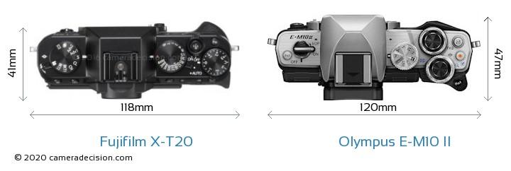 Fujifilm X-T20 vs Olympus E-M10 II Camera Size Comparison - Top View