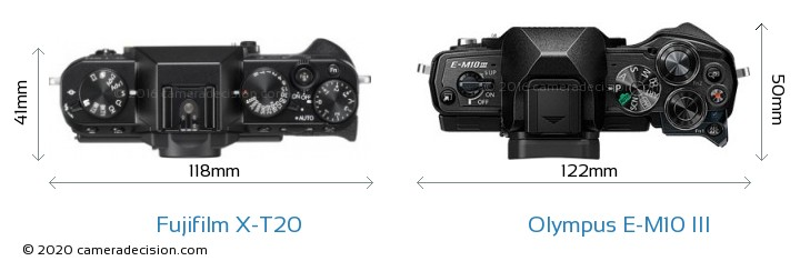 Fujifilm X-T20 vs Olympus E-M10 MIII Camera Size Comparison - Top View