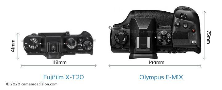 Fujifilm X-T20 vs Olympus E-M1X Camera Size Comparison - Top View