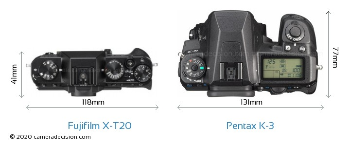 Fujifilm X-T20 vs Pentax K-3 Camera Size Comparison - Top View