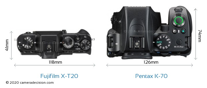 Fujifilm X-T20 vs Pentax K-70 Camera Size Comparison - Top View