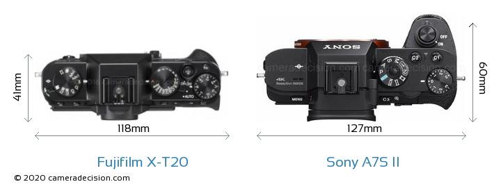 Fujifilm X-T20 vs Sony A7S II Camera Size Comparison - Top View