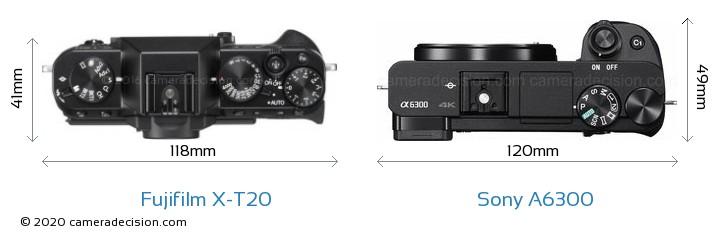 Fujifilm X-T20 vs Sony A6300 Camera Size Comparison - Top View