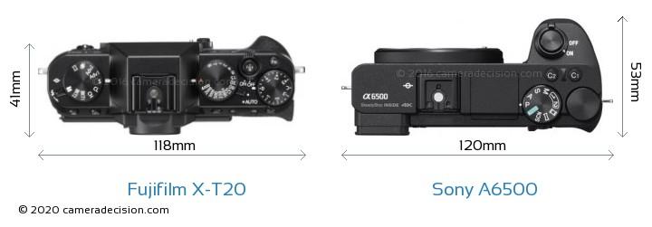 Fujifilm X-T20 vs Sony A6500 Camera Size Comparison - Top View