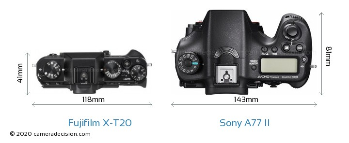 Fujifilm X-T20 vs Sony A77 II Camera Size Comparison - Top View