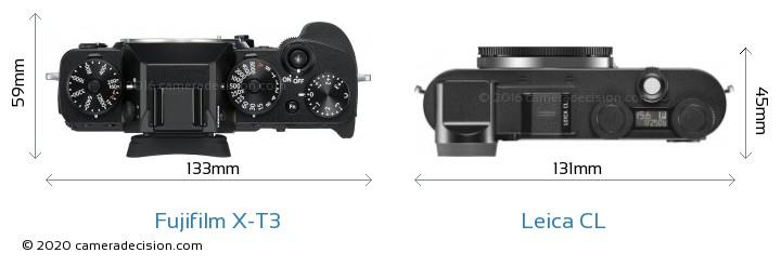 Fujifilm X-T3 vs Leica CL Camera Size Comparison - Top View