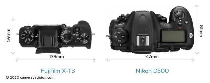 Fujifilm X-T3 vs Nikon D500 Camera Size Comparison - Top View