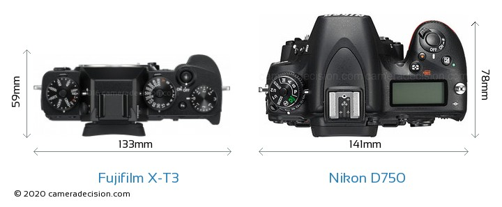 Fujifilm X-T3 vs Nikon D750 Camera Size Comparison - Top View